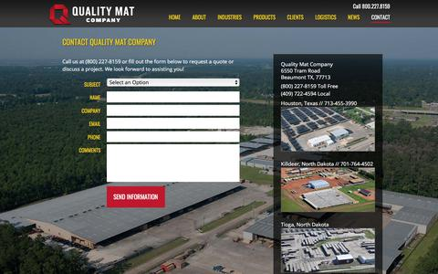 Screenshot of Contact Page qmat.com - Contact - Quality Mat Company - captured June 1, 2018