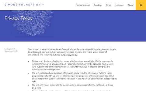 Screenshot of Privacy Page simonsfoundation.org - Privacy Policy | Simons Foundation - captured Sept. 24, 2018