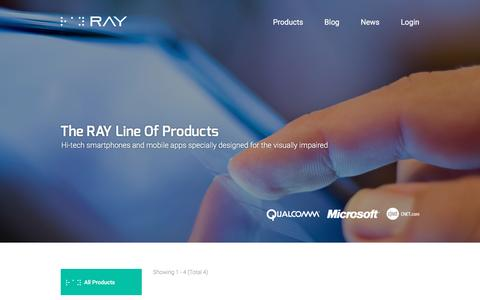 Screenshot of Products Page project-ray.com - Products - Ray - captured Feb. 1, 2016