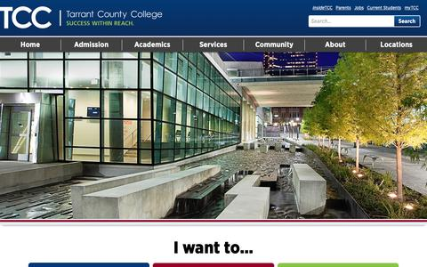 Screenshot of Home Page tccd.edu - Home Page - Tarrant County College - captured Oct. 19, 2018