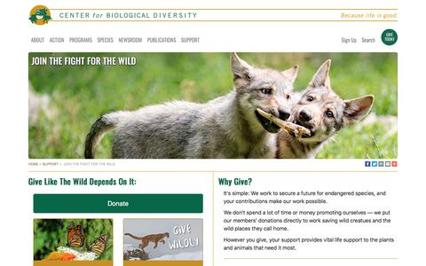Screenshot of Support Page biologicaldiversity.org - Join the fight for the wild - captured Sept. 21, 2019