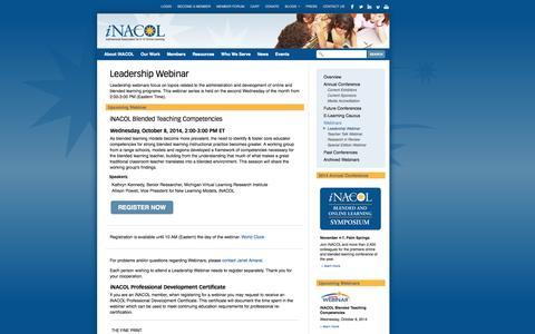 Screenshot of Team Page inacol.org - iNACOL |   Leadership Webinar - captured Oct. 6, 2014