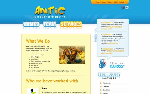 Screenshot of Services Page anticentertainment.com - Services | Antic Entertainment - captured Sept. 30, 2014