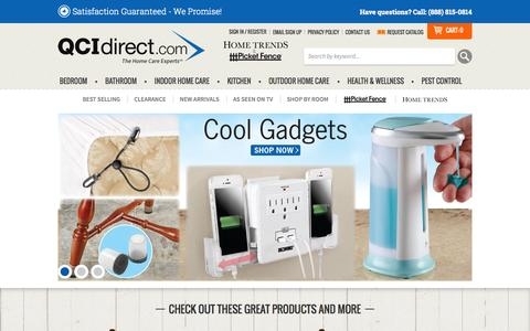 Screenshot of Home Page qcidirect.com - QCI Direct - Home Trends, Picket Fence and Sleep Solutions Catalog - captured July 17, 2015