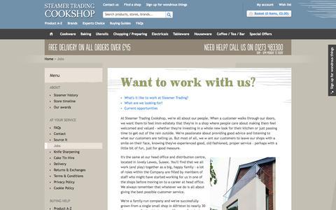 Screenshot of Jobs Page steamer.co.uk - Job Positions | Steamer Trading - captured Oct. 7, 2014