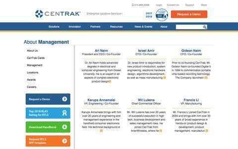 Screenshot of Team Page centrak.com - Meet The CenTrak Management Team - captured July 12, 2018