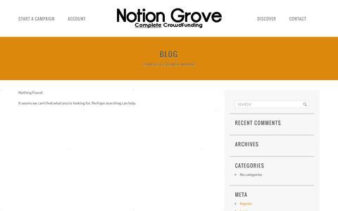 Screenshot of Blog notiongrove.com - Blog | Notion Grove | Complete Crowdfunding - captured Feb. 15, 2016