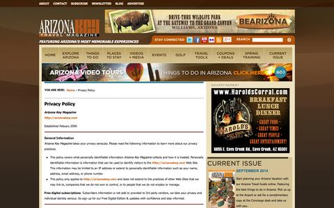 Screenshot of Privacy Page arizonakey.com - Privacy Policy | Arizona Key Magazine - captured Sept. 23, 2014