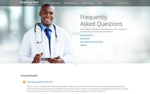Screenshot of FAQ Page americanwell.com - American Well for Providers - captured Sept. 15, 2018
