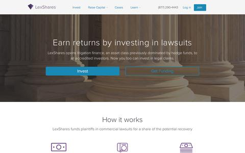 Screenshot of Home Page lexshares.com - LexShares - Invest in Legal Claims - captured Aug. 30, 2016