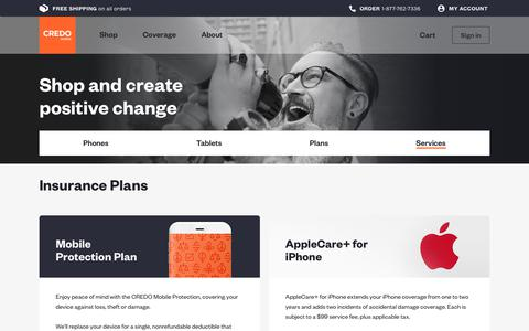 Screenshot of Services Page credomobile.com - Insurance & International Calling Plans | CREDO Mobile - captured May 17, 2019