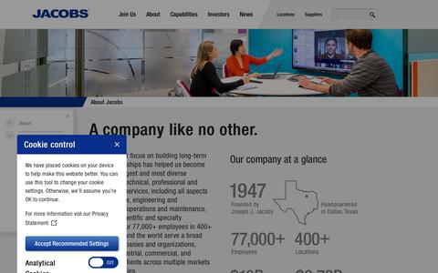 Screenshot of About Page Contact Page jacobs.com - About | Jacobs - captured Jan. 20, 2019
