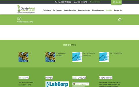 Screenshot of FAQ Page guidepointlabs.com - FAQ | GuidePoint LabsGuidePoint Labs - captured Sept. 30, 2014