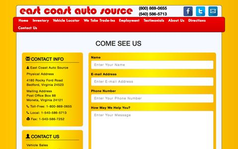 Screenshot of Contact Page ecoastauto.com - East Coast Auto Source Quality Repairable Vehicles and Parts - captured Sept. 26, 2015