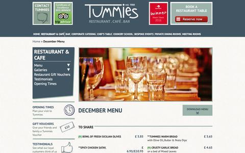 Screenshot of Menu Page tummies.net - Tummies  » Blog Archive  December Menu - Tummies - captured Dec. 11, 2018