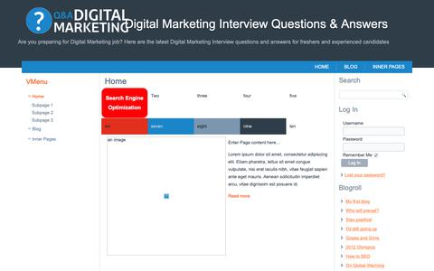 Screenshot of Home Page digitalmarketinginterview.com - Digital Marketing Interview Questions & Answers - captured Oct. 30, 2018