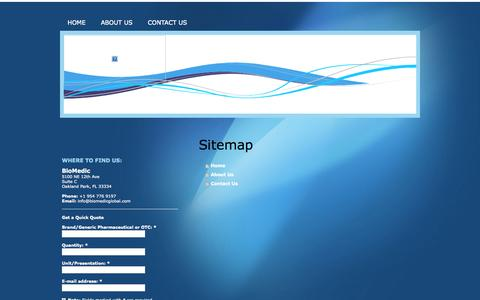 Screenshot of Site Map Page biomedicglobal.net - Home - BioMedic - captured Oct. 5, 2014