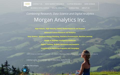 Screenshot of Home Page morgananalytics.com - Morgan Analytics Inc. - Morgan Analytics Inc. - captured Feb. 14, 2016