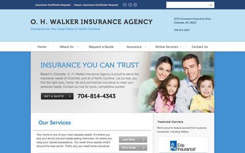 Screenshot of Home Page ohwalkerins.com - Charlotte,, NC Insurance Agency   O. H. Walker Insurance Agency - captured Oct. 6, 2014