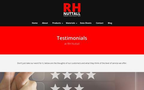 Screenshot of Testimonials Page rhnuttall.co.uk - Testimonials - Reviews - Feedback | RH Nuttall - captured Sept. 20, 2018