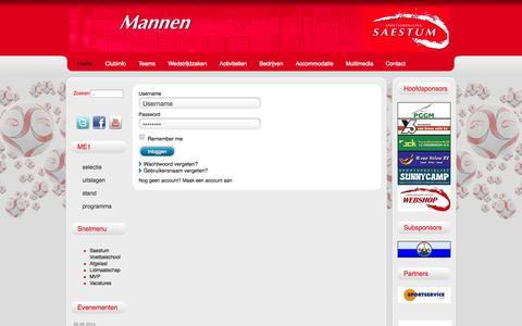 Screenshot of Login Page saestum.nl - Log-in - captured Oct. 3, 2014