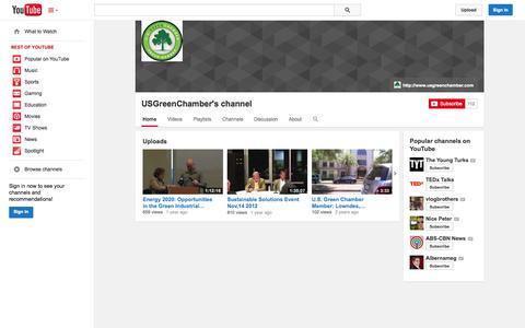 Screenshot of YouTube Page youtube.com - USGreenChamber's channel  - YouTube - captured Oct. 23, 2014