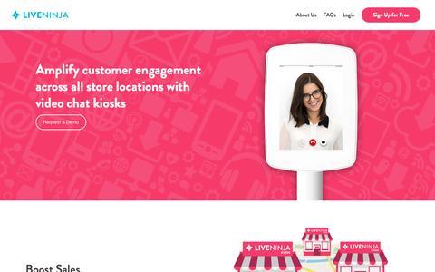 Screenshot of liveninja.com - LiveNinja Video Chat Kiosks for Retail Stores - captured May 3, 2016