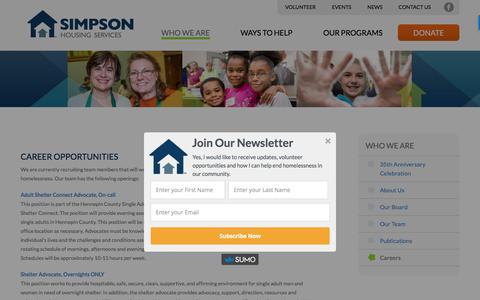 Screenshot of Jobs Page simpsonhousing.org - Careers | Simpson Housing - captured Nov. 5, 2017