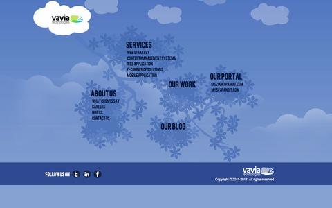 Screenshot of Site Map Page vavia.in - Application Development   Web 3.0 Company Bangalore - captured Oct. 7, 2014