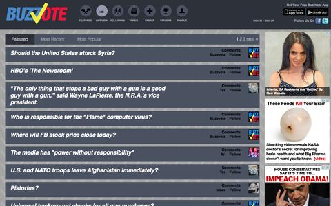 Screenshot of Press Page buzzvote.com - Featured Questions - BuzzVote - Social Polling, Viral Voting - captured Sept. 13, 2014
