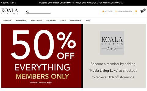 Screenshot of Home Page koalaliving.com.au - Modern Furniture Stores in Melbourne & Sydney | Koala Living - captured July 21, 2019