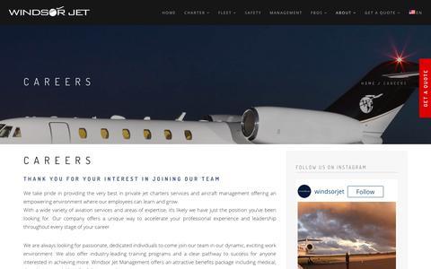 Screenshot of Jobs Page windsorjet.com - Private Charter Flights | Careers | Windsor Jet Management - captured Oct. 27, 2017