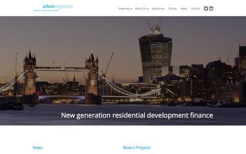Screenshot of Home Page urbanexposureuk.com - Urban Exposure | Property - Development - Finance - captured Oct. 7, 2014