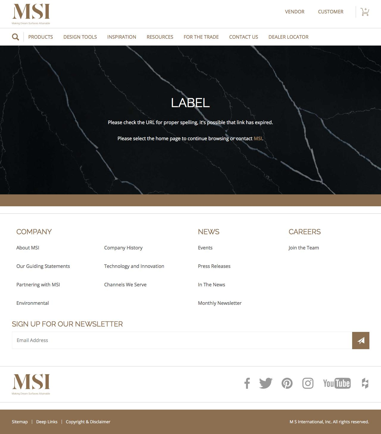 Screenshot of msistone.com - Error Page | M S International Inc. - captured June 11, 2018
