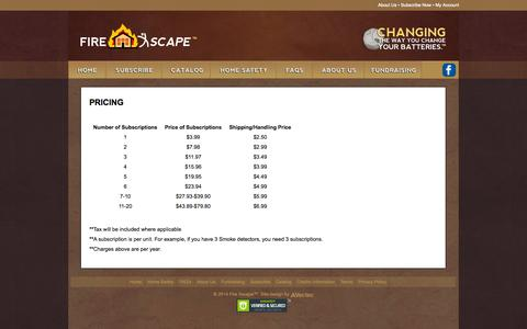 Screenshot of Pricing Page firexscape.com - • Fire Xscape •   Pricing - captured Oct. 27, 2014