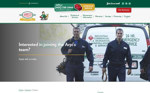 Screenshot of Jobs Page arpis.com - Calgary Jobs & Careers in Heating & Cooling | Arpi's Industries Ltd. - captured Nov. 13, 2018