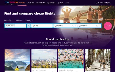 Screenshot of Home Page momondo.com - Cheap Flights - Search and Compare Flights   momondo - captured Feb. 22, 2020