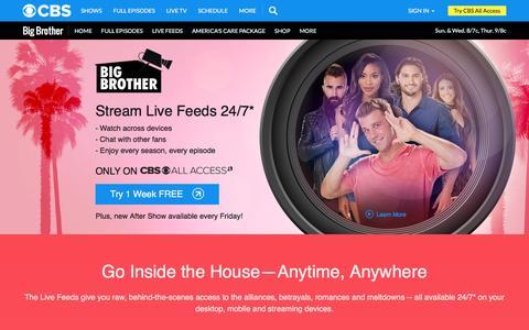 Screenshot of Trial Page cbs.com - Big Brother 2016 Live Feeds - Season 18 - CBS.com - captured Aug. 28, 2016