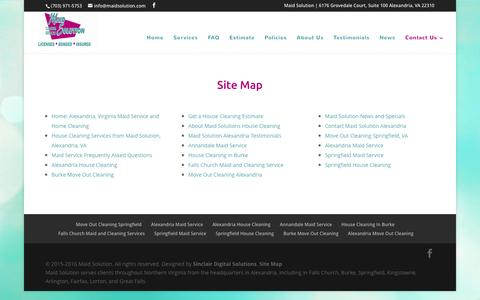 Screenshot of Site Map Page maidsolution.com - Site Map for Maid Solution - captured Feb. 4, 2016
