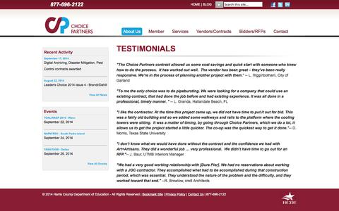 Screenshot of Testimonials Page choicepartners.org - Testimonials - captured Sept. 29, 2014