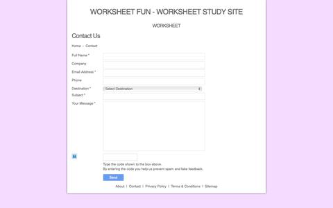 Screenshot of Contact Page siteraven.com - Contact Page | Worksheet Fun Worksheet Study Site - captured Oct. 19, 2018