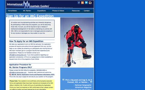 Screenshot of Signup Page mountainguides.com - Sign Up for an Expedition with International Mountain Guides - captured Jan. 30, 2016