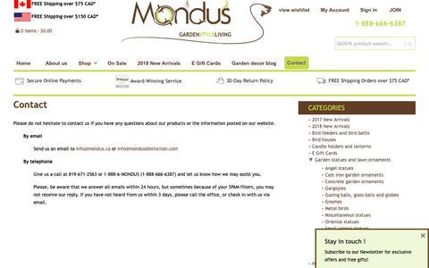 Screenshot of Contact Page mondusdistinction.com - Contact - Mondus Distinction Garden Decor - captured Oct. 20, 2018