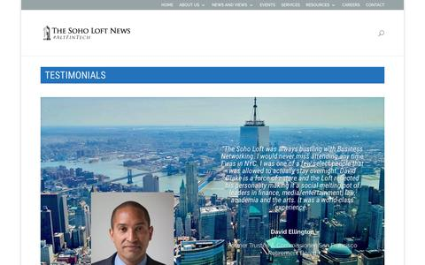 Screenshot of Testimonials Page thesoholoft.com - TESTIMONIALS | The Soho Loft News - #AltFinTech - captured Aug. 15, 2016