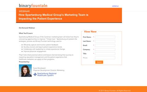 Screenshot of Landing Page binaryfountain.com - How a Provider's Marketing Team is Impacting the Patient Experience - captured June 18, 2017
