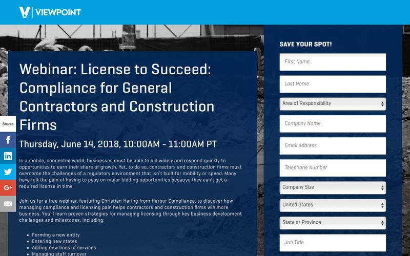 Webinar: License to Succeed: Compliance for General Contractors and Construction Firms
