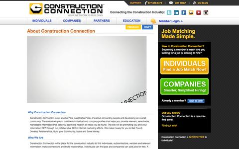 Screenshot of About Page constructionconnection.com - Construction Career Management Tailored to Construction Recruitment Agencies & Construction Industry Professionals - captured Sept. 30, 2014