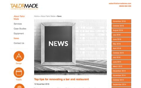 Screenshot of Press Page tailormadeces.com - News - Commercial Kitchen & Bar Design, Supply & Installation - captured Dec. 3, 2016