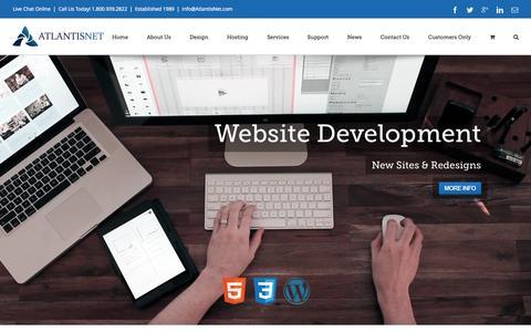 Screenshot of Home Page atlantisnet.com - AtlantisNet - Orange County Web Hosting & Development - captured Sept. 13, 2015