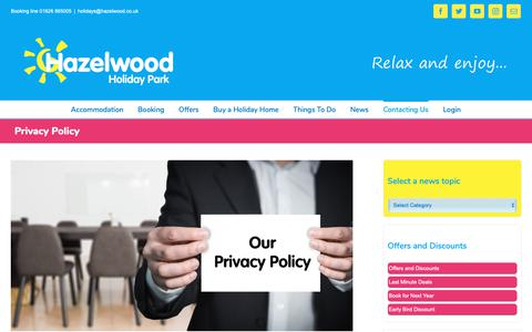Screenshot of Privacy Page hazelwood.co.uk - Privacy Policy - captured Sept. 27, 2018